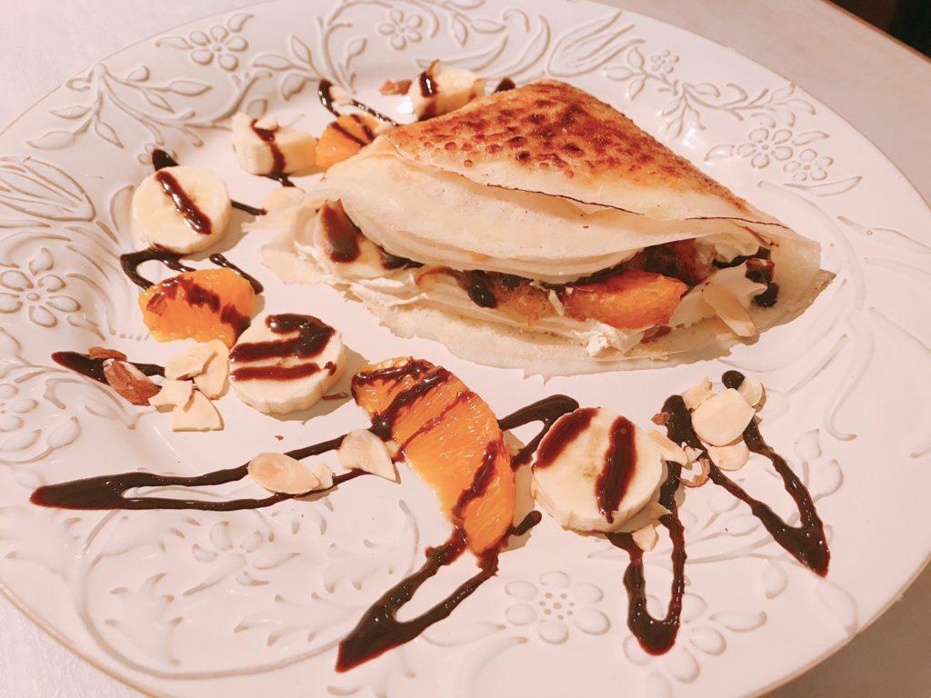 ヴィーガン、チョコレートオレンジ、クレープ