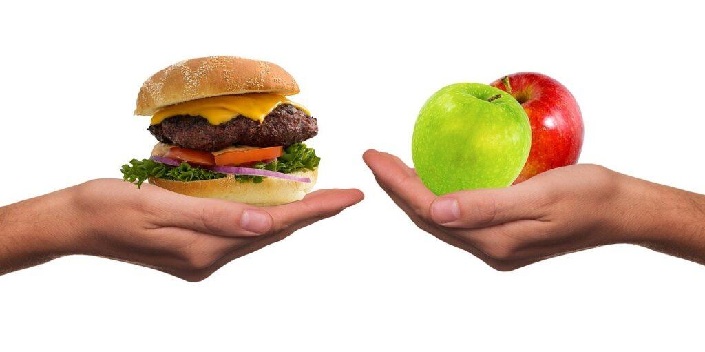 ベジタリアン,りんご、バーガー